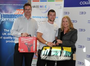 1) SkillELECTRIC North Josh Day presentation with Neil Collishaw, SummitSkills (l) and Louise Johnson, Salford College (r)