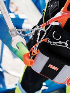 Bahco carabiners, tool fixing and lanyards guard against dropping tools from height.